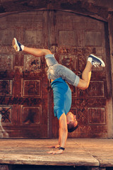 Breakdancer doing handstand