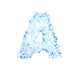 Water alphabet isolated on white (letter A)