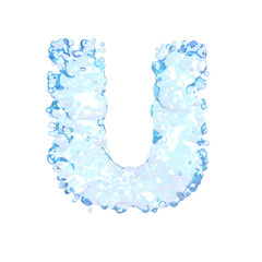 Water alphabet isolated on white (letter U)