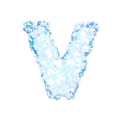 Water alphabet isolated on white (letter V)