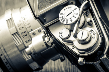Detail of old classic camera dials in vintage style