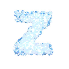 Water alphabet isolated on white (letter Z)