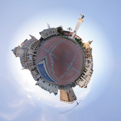 Planet with a cityscape circumference