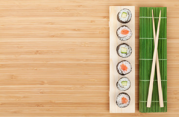 Sushi set with salmon and cucumber