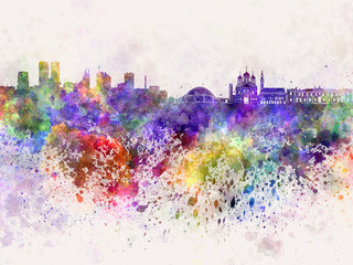 Tallinn skyline in watercolor background