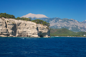 Mediterranean sea landscape view mountains Kemer, Turkey