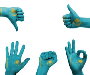 Hand set with the flag of kazakhstan