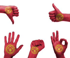 Hand set with the flag of kyrgyzstan