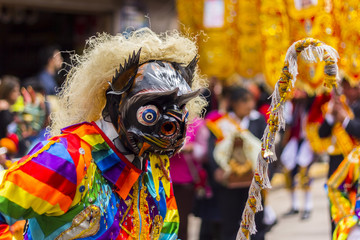 masked dancers Virgen del Carmen Pisac Cuzco Peru