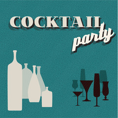 Retro teal Coctail party invitation card