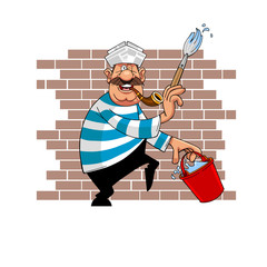 cartoon house painter moustached with brush and bucket