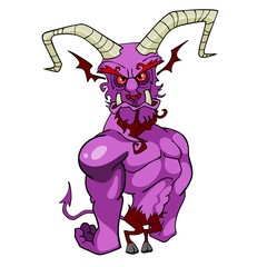 cartoon purple horned demon