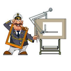 cartoon marine navigator with drawing board at a loss