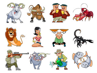 comical cartoon zodiac, set