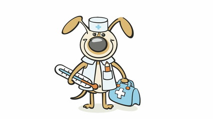 dog - veterinarian doctor loopable video with alpha channel