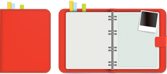 or diary in red leather with blank pages