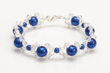 Blue bubbles bracelet with swarovski crystals isolated