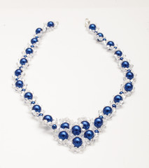 Blue beads necklaces with swarovski crystals isolated