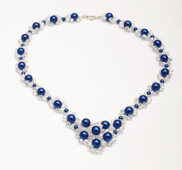 Handmade necklace with swarovski crystals isolated