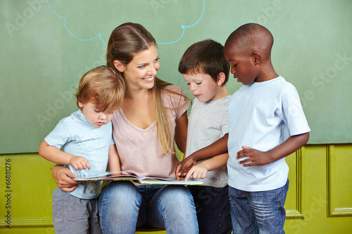 Child day care worker with children
