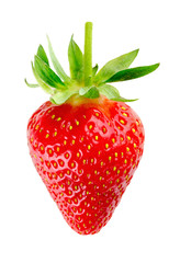 juicy ripe strawberry on the white background