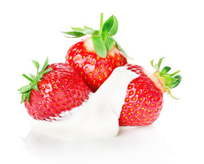 fresh strawberry with cream isolated on white background