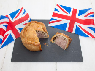pork pie with british flags