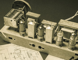ancient superheterodyne type radio with tubes