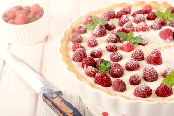 Raspberries tart
