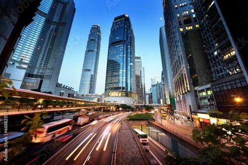 Deurstickers Hong-Kong traffic in Hong Kong at sunset time