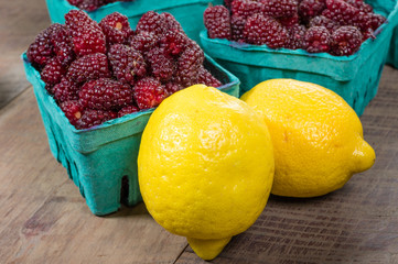 Tayberries and lemons for cooking