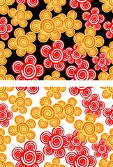 Seamless background with red and yellow flowers