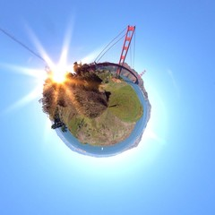 abstract globe with san francisco golden gate