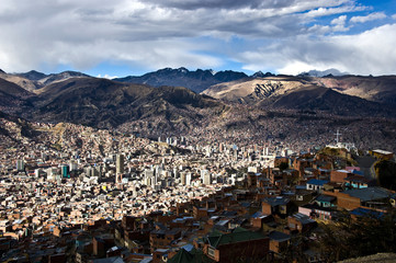 La Paz from above, with Nevado Illamani in the distance. Bolivia