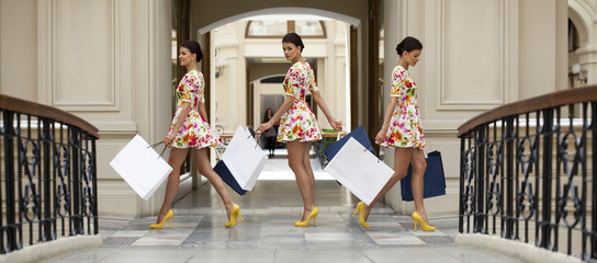 Collage three shopping women
