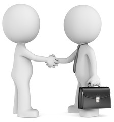 Business deal. The Dude shaking hands with executive. Side view.