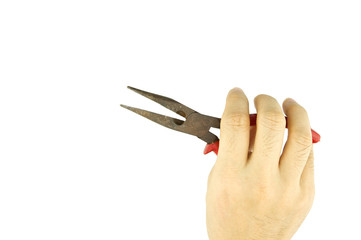 Man holding old pliers for repair isolated