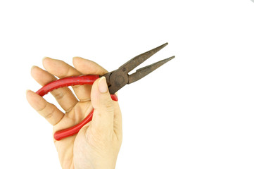 Man holding old red pliers for repair isolated