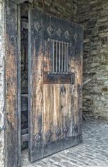 Wooden Door with Iron Bars