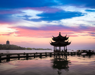 hangzhou scenery in sunset