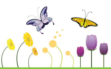 Colorful Spring Flowers and Butterfly