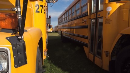 A motion controlled view of schoolbuses