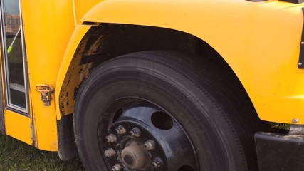 Motion controlled view of a schoolbus