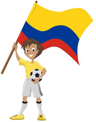 Soccer fan holds Colombian flag