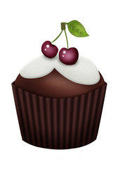 шоколадный кекс с вишенками