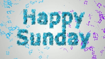 Happy Sunday Musical Note blue background Loop Animation