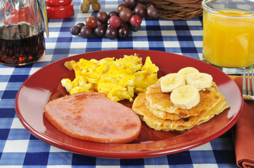Ham and eggs with pancakes