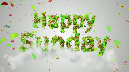 Happy Sunday leaves particles Loop Animation