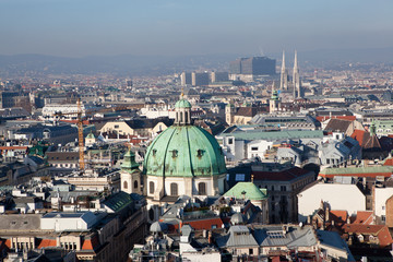 Vienna from the lookout tower Shtefl. Austria.