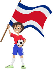 soccer fan holds Costa Rica flag